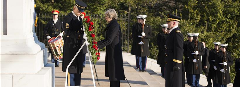 Prime Minister of the United Kingdom Theresa May visits Arlington National Cemetery