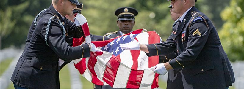 Military Funeral Honors for WWII D-Day Veteran U.S. Army Sgt. Carl Mann in Section 59