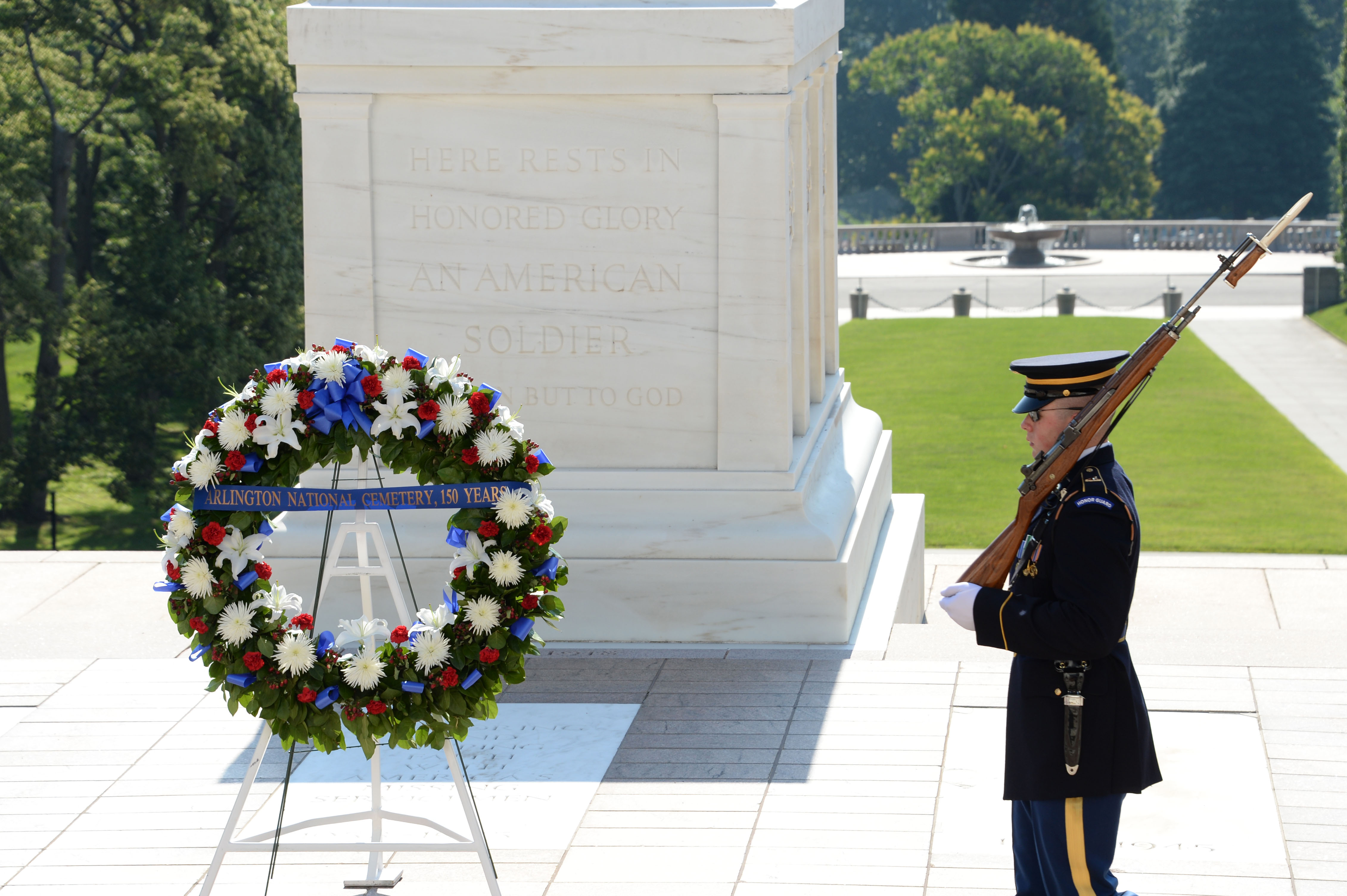 wreath in front of Tomb of the Unknown Soldier