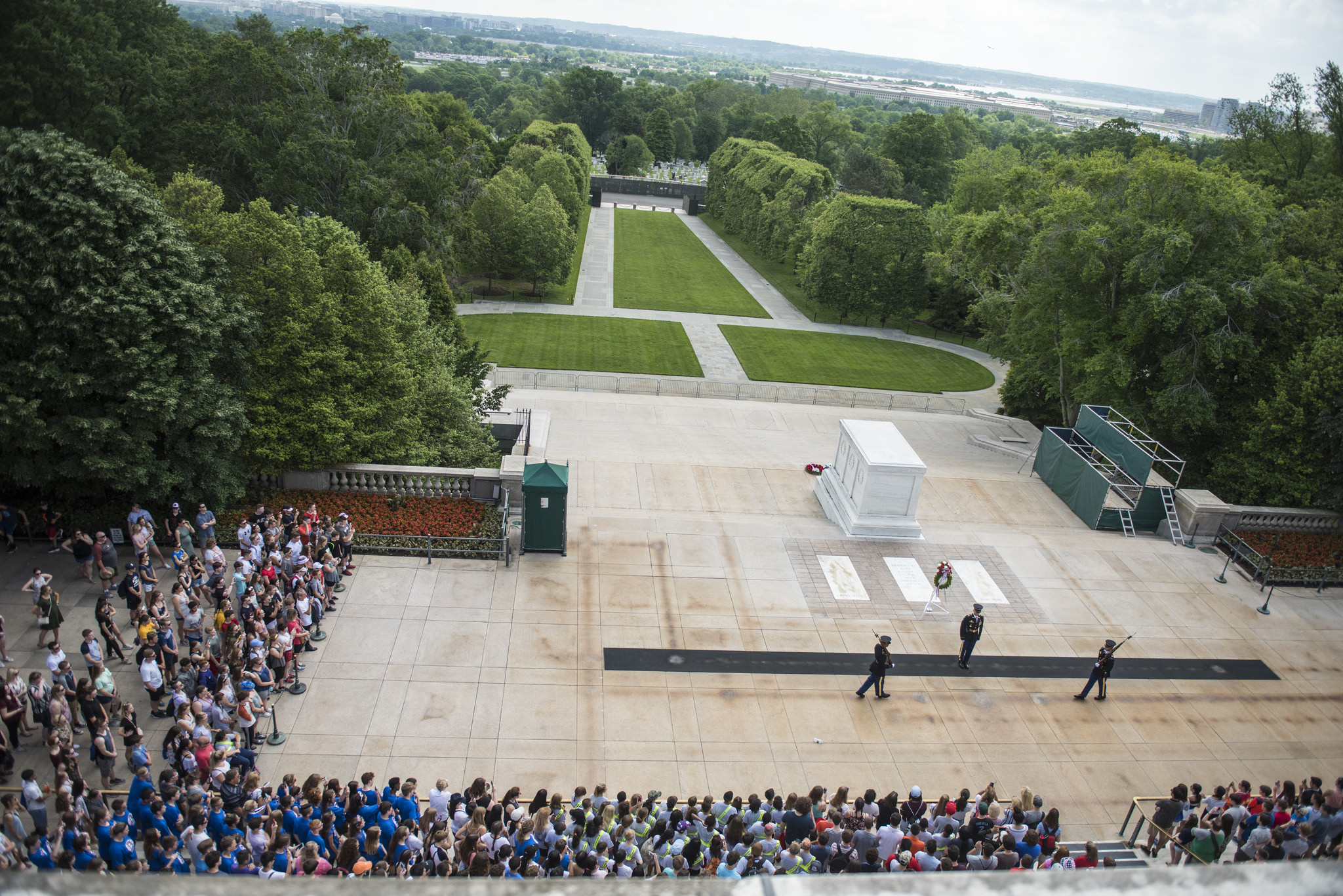 An aerial view of the Tomb of the Unknown Soldier, guarded by Sentinels from the Army's 3rd Infantry Regiment
