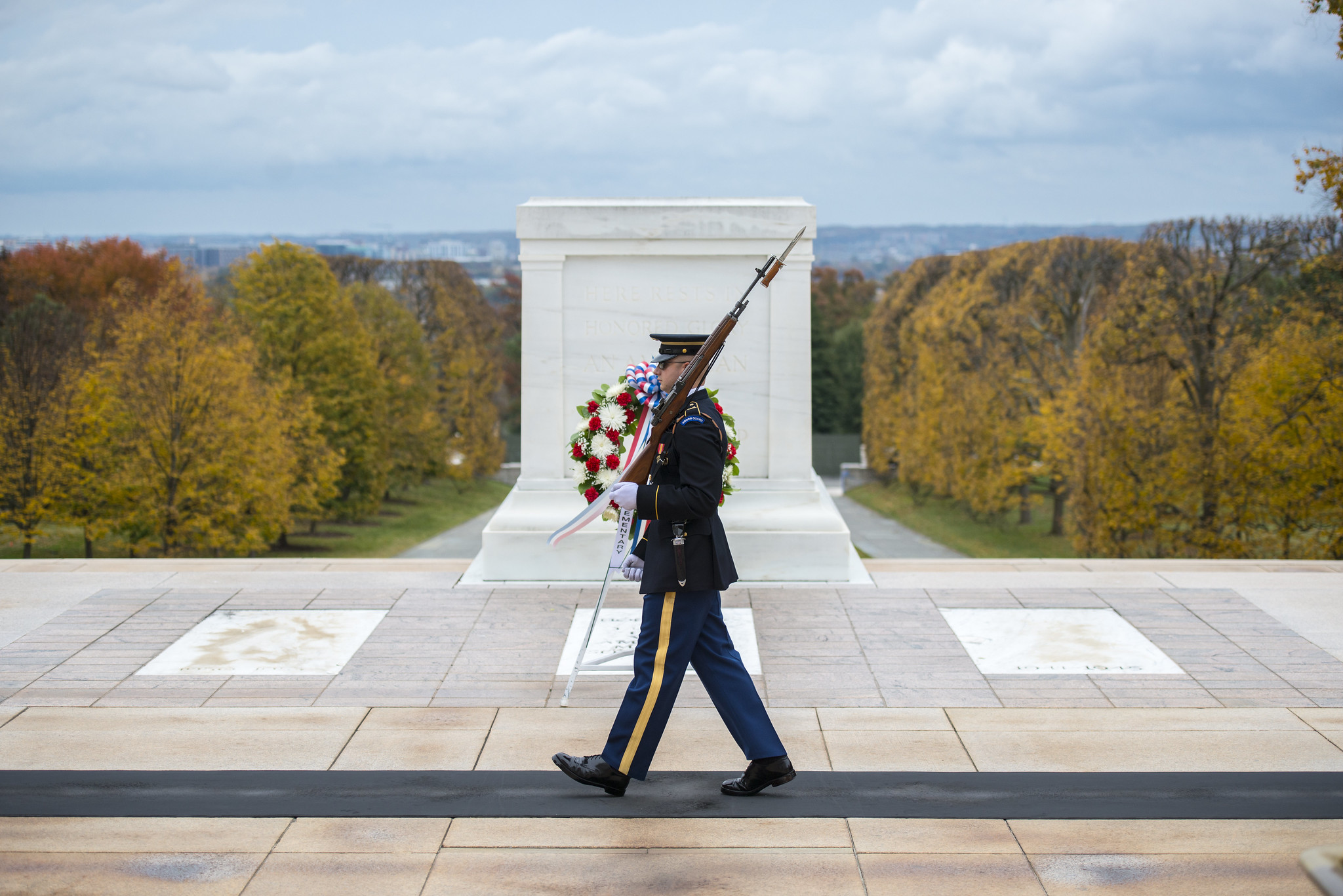 A sentinel guarding the Tomb of the Unknown Soldier, Arlington National Cemetery
