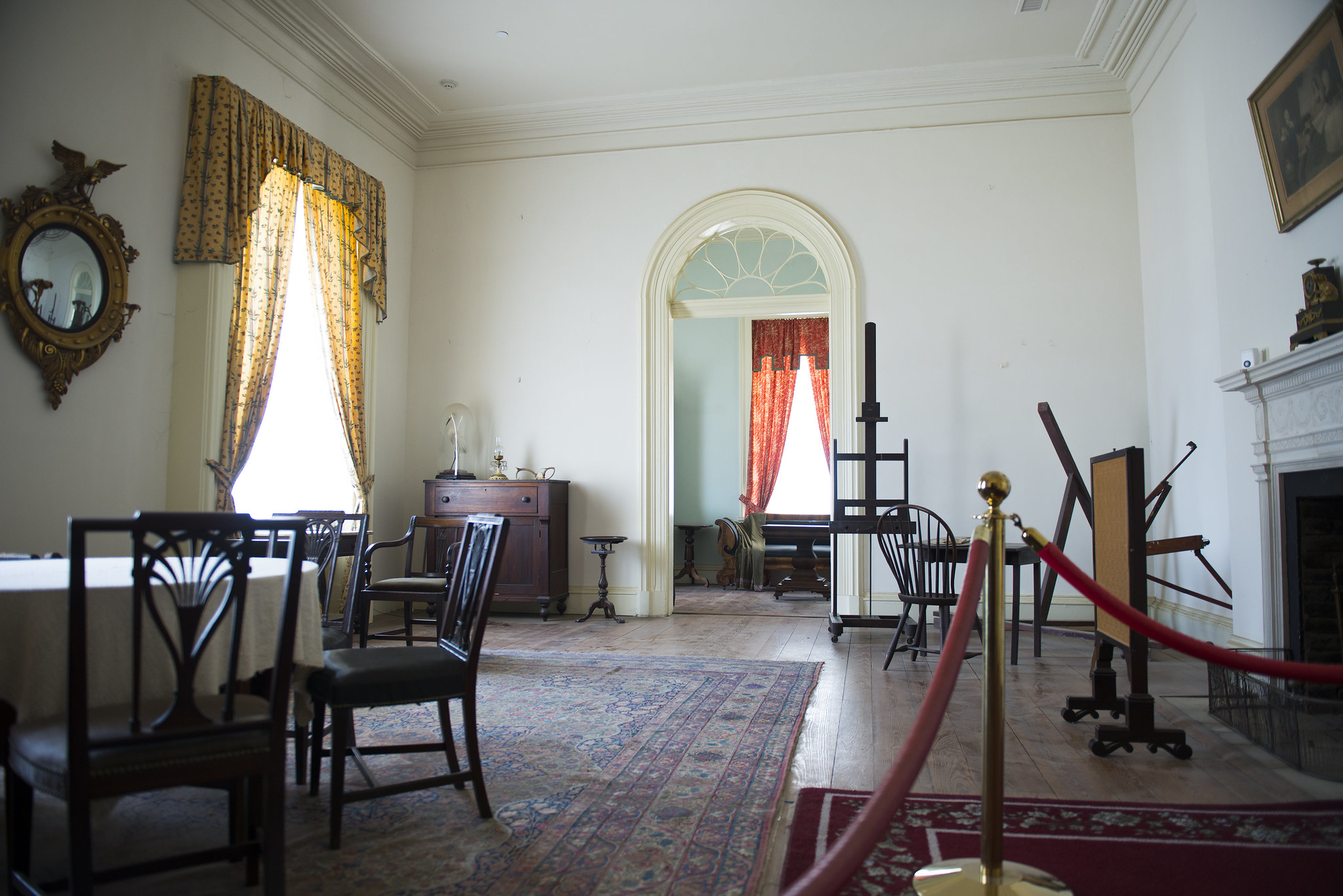 Interior of Arlington House, featuring historic furnishings