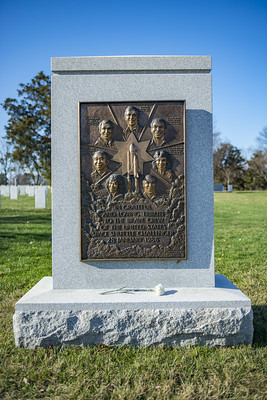 The space shuttle Challenger memorial, with images and names of the crew