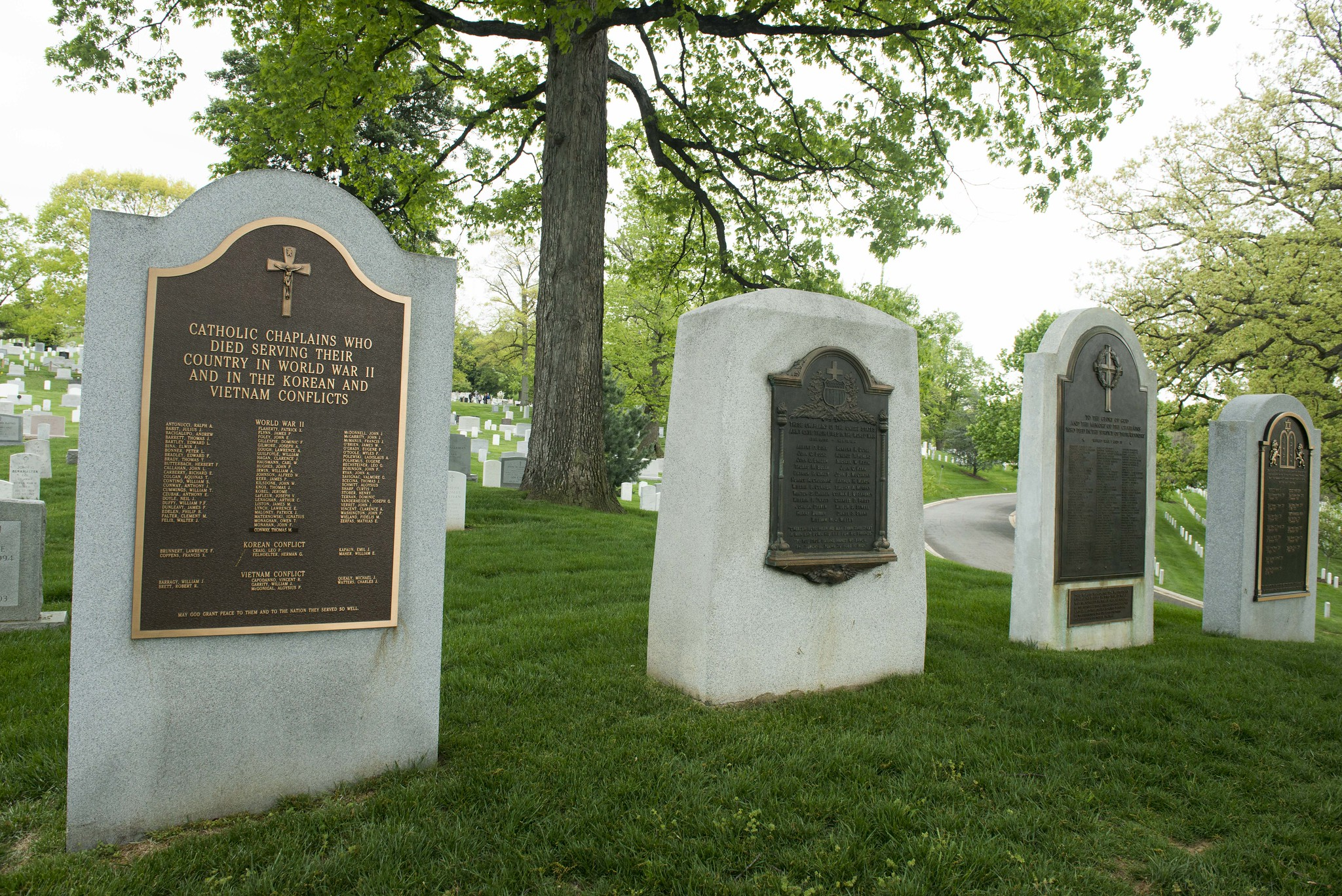 Four monuments to military chaplains on Chaplains Hill