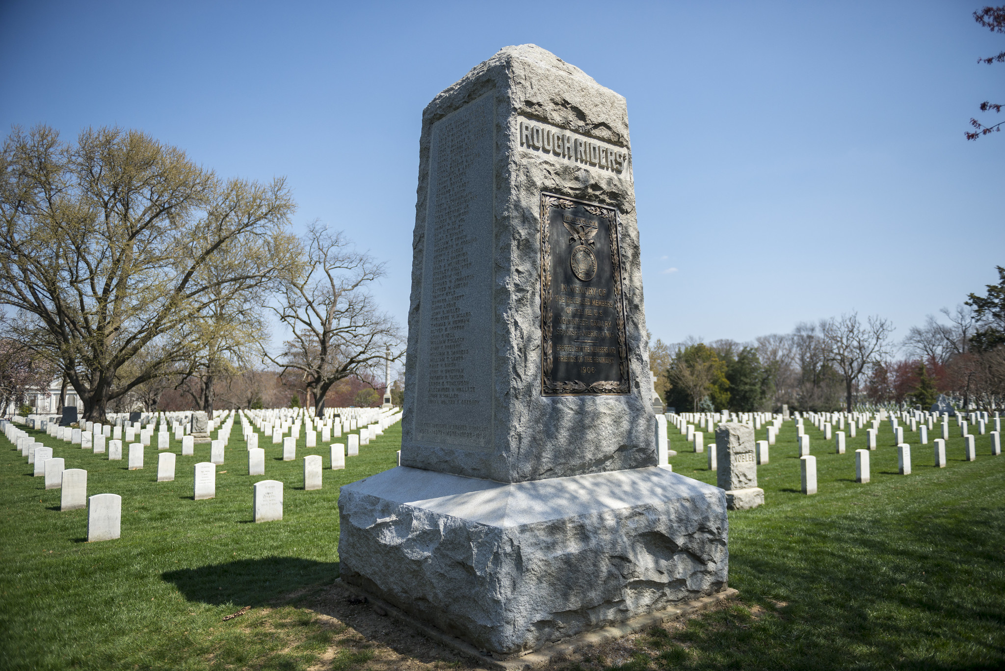 A tall granite column, memorial to the Rough Riders of the Spanish-American War