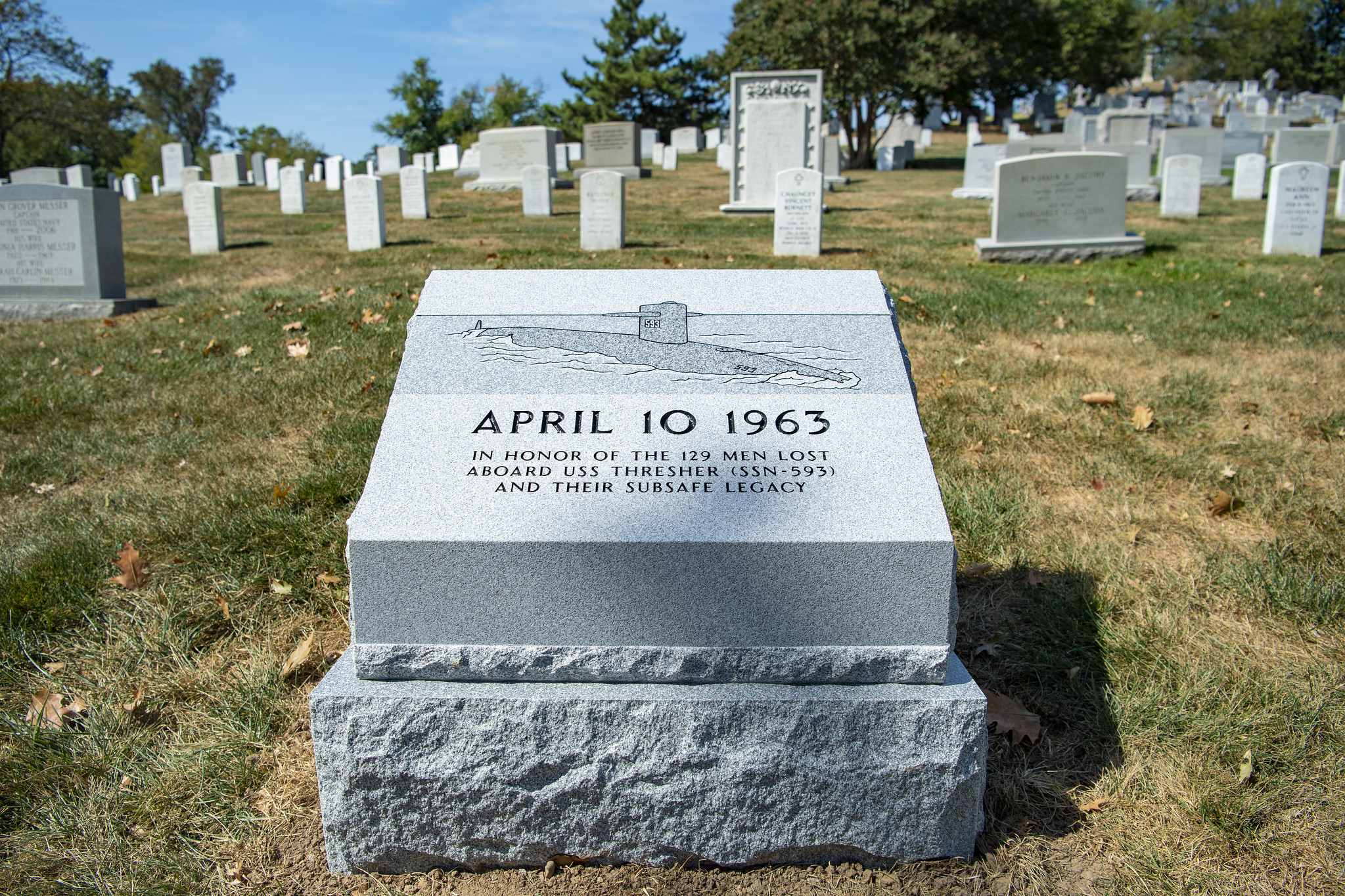 The USS Thresher Memorial, with inscription reading: April 10, 1963 - In honor of the 129 men lost aboard USS Thresher (SSN-593) and their subsafe legacy
