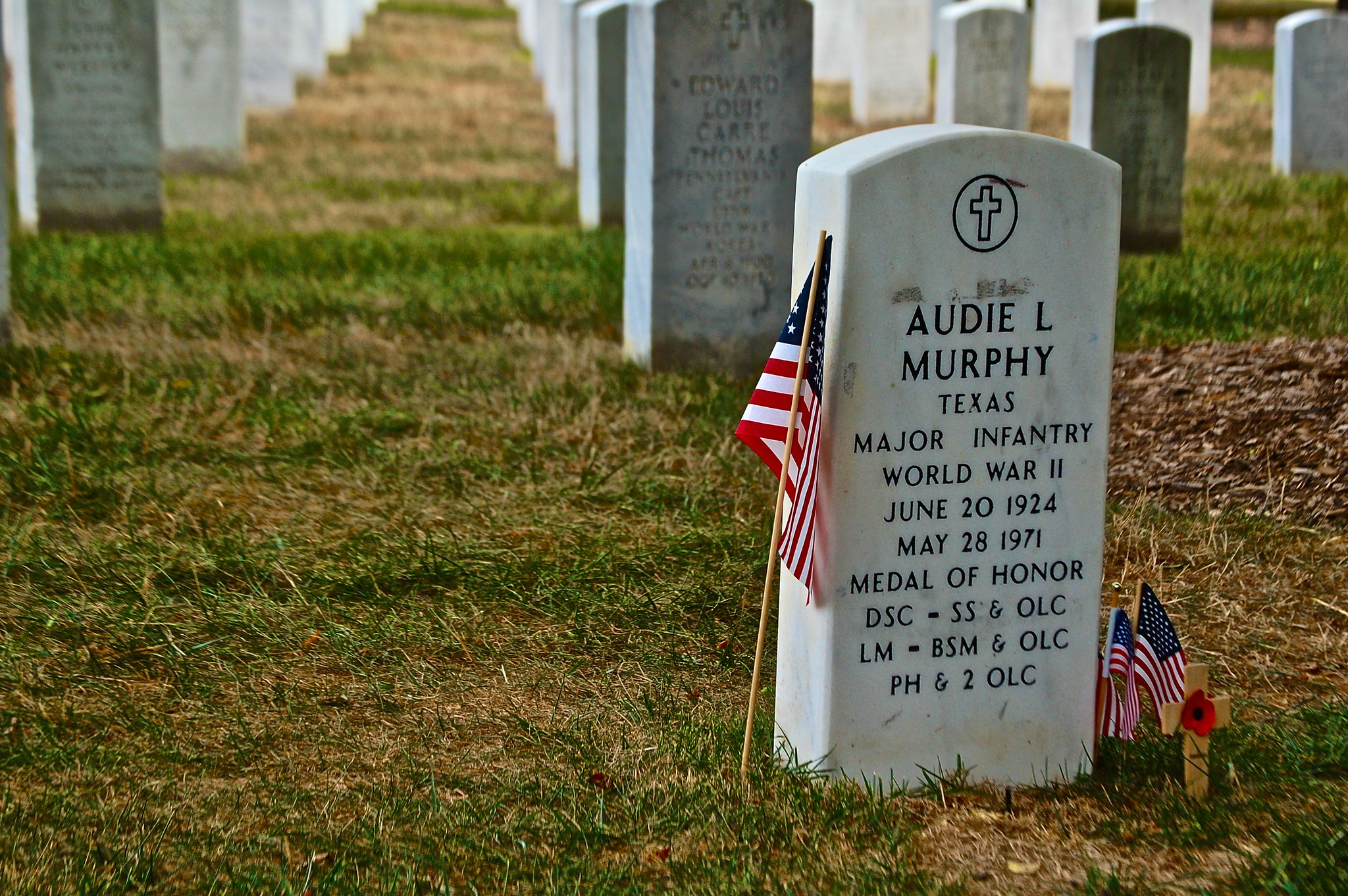 Gravestone of actor and World War II hero Audie Murphy