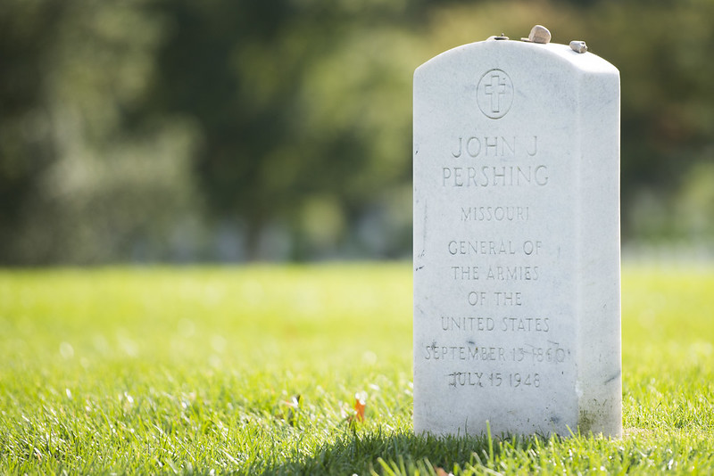 Gravestone of General John J. Pershing, one of only two Americans to hold the rank of General of the Armies