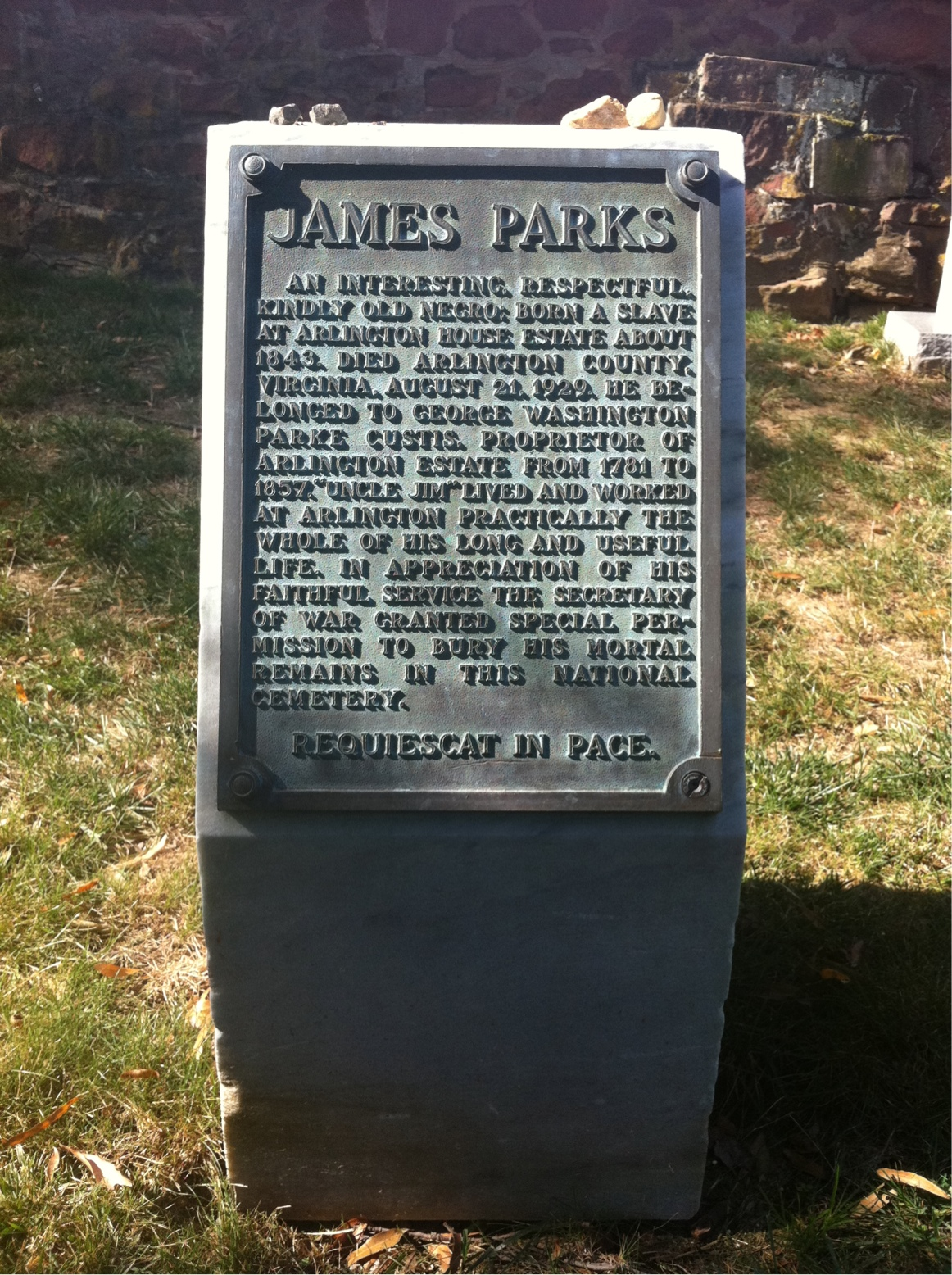Gravesite of James Parks, a former slave and the only person buried at Arlington National Cemetery who was born on the property