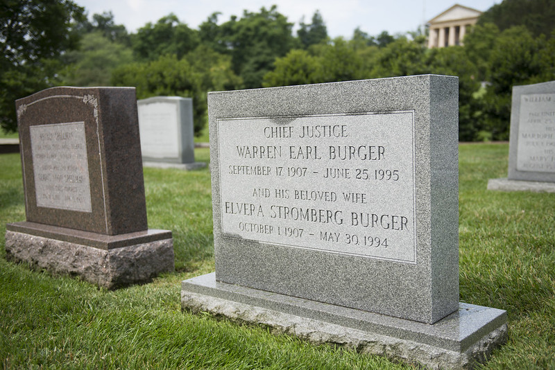 Photo of the headstone of Supreme Court Chief Justice Warren Burger and his wife, Elvera Stromberg Burger