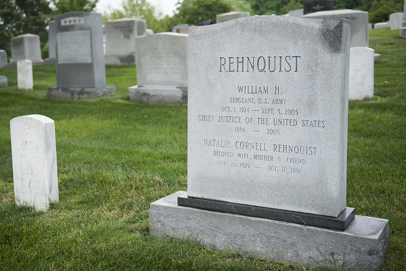 gravestone of Chief Justice William H. Rehnquist