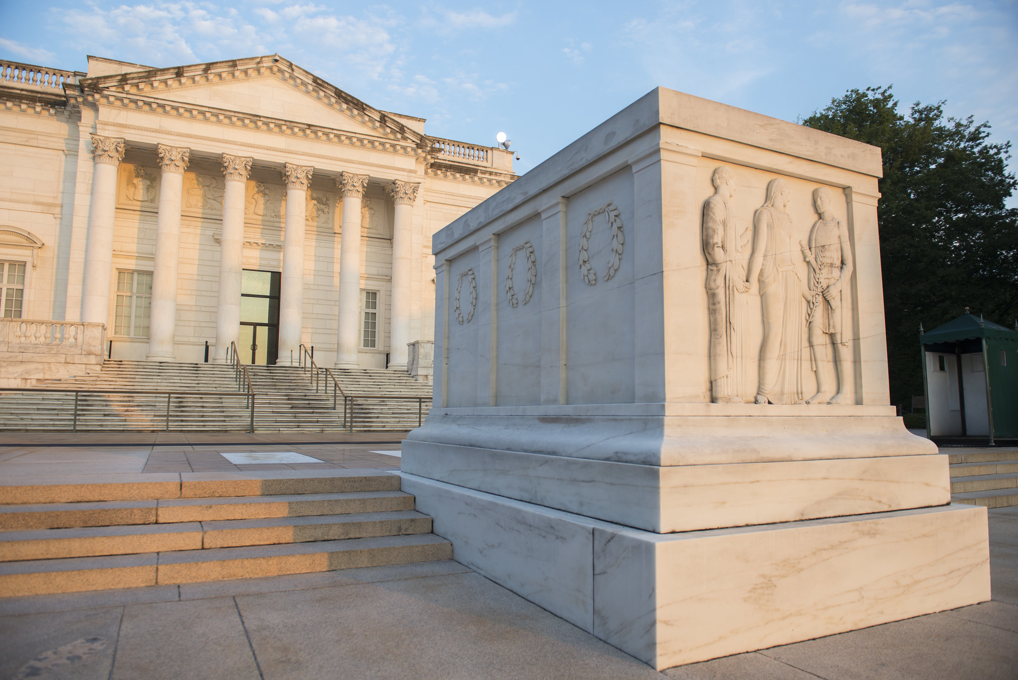 The Tomb of the Unknown Soldier, with carved figures representing Peace, Victory, and Valor
