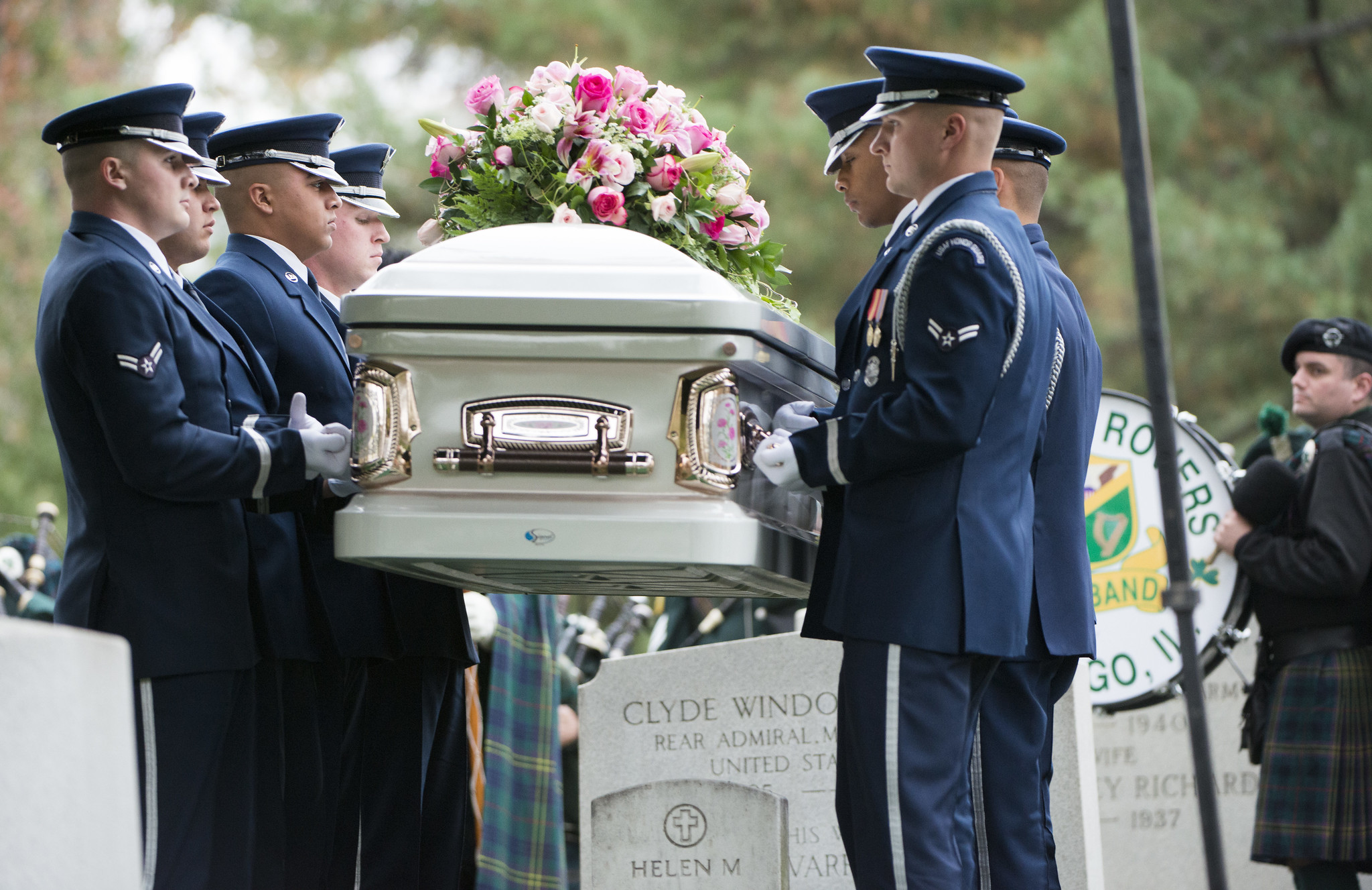 A military casket team at the funeral of the wife of an Air Force officer