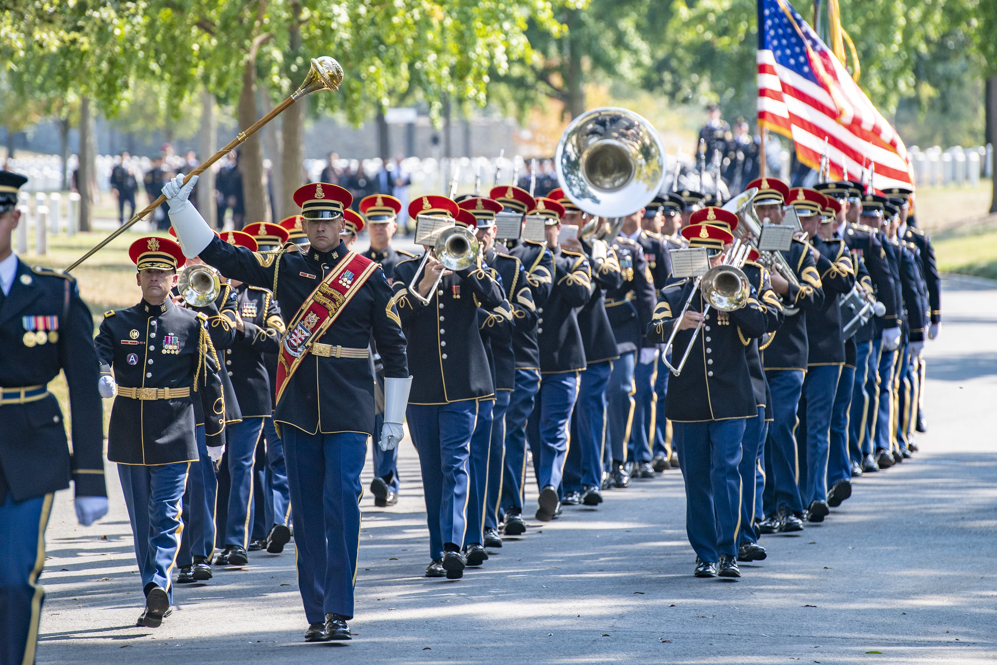The U.S. Army Band marches in a full military honors funeral with funeral escort in Section 60 at Arlington National Cemetery, September 11, 2019