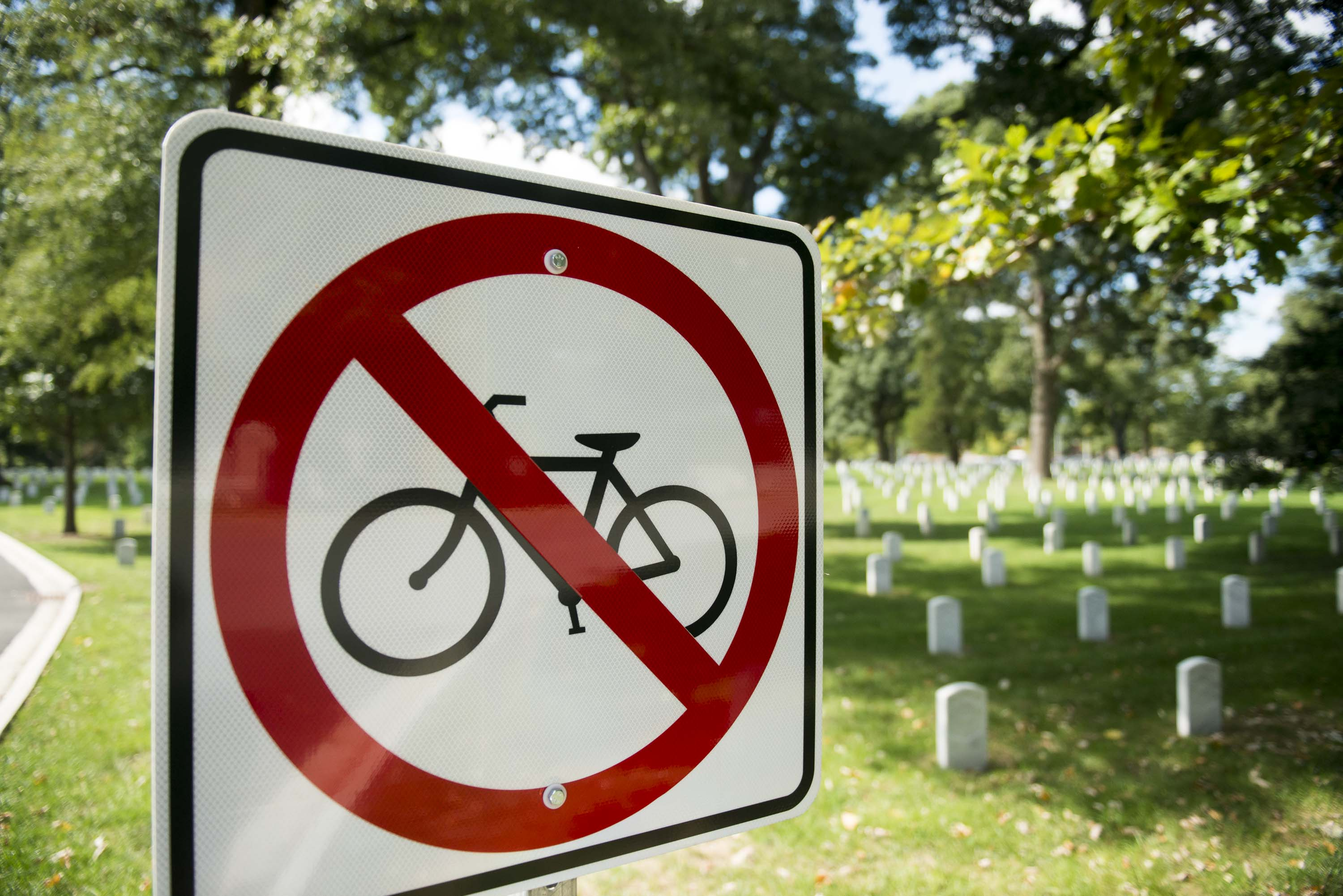 Bicycles parked near the entrance to Arlington National Cemetery