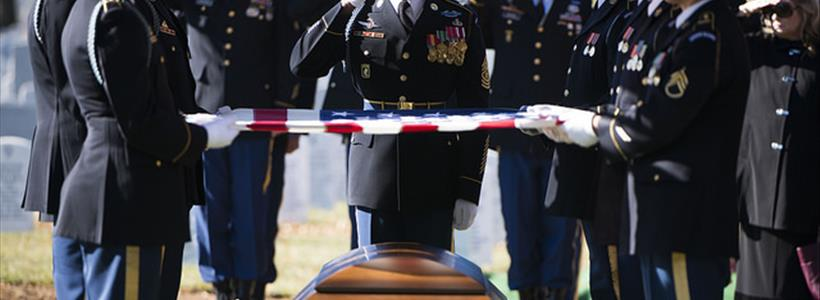 Graveside service in Arlington National Cemetery