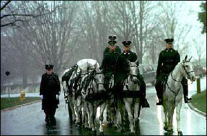 A 3rd U.S. Infantry (The Old Guard) caisson carries the remains of five Army Air Force members lost during World War II to their burial site at Arlington National Cemetery