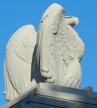 Granite Eagle atop Memorial Entrance
