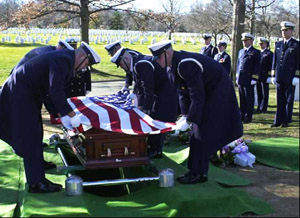 An in-ground burial at Arlington National Cemetery